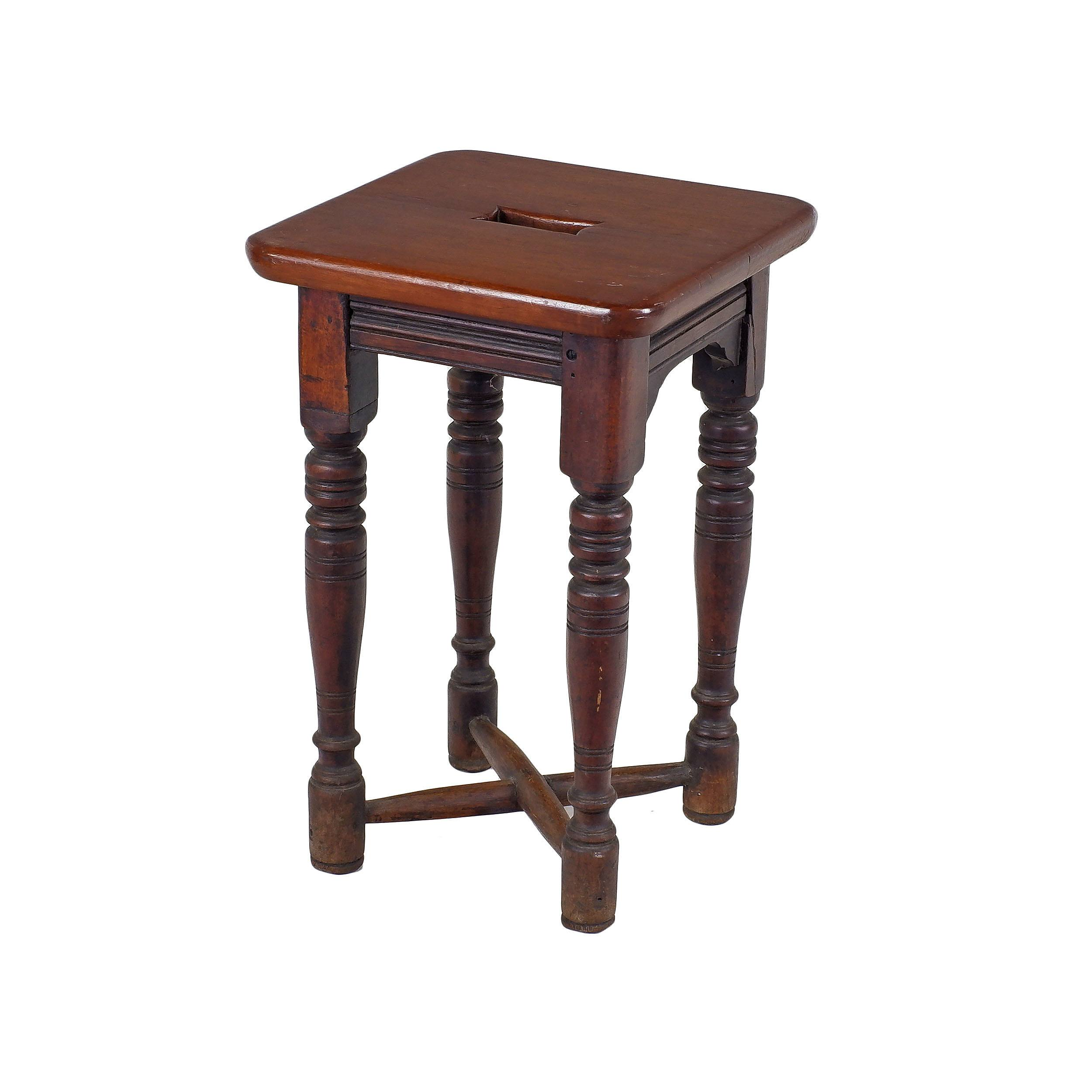 'Late Victorian Mahogany Stool Circa Late 19th Century'