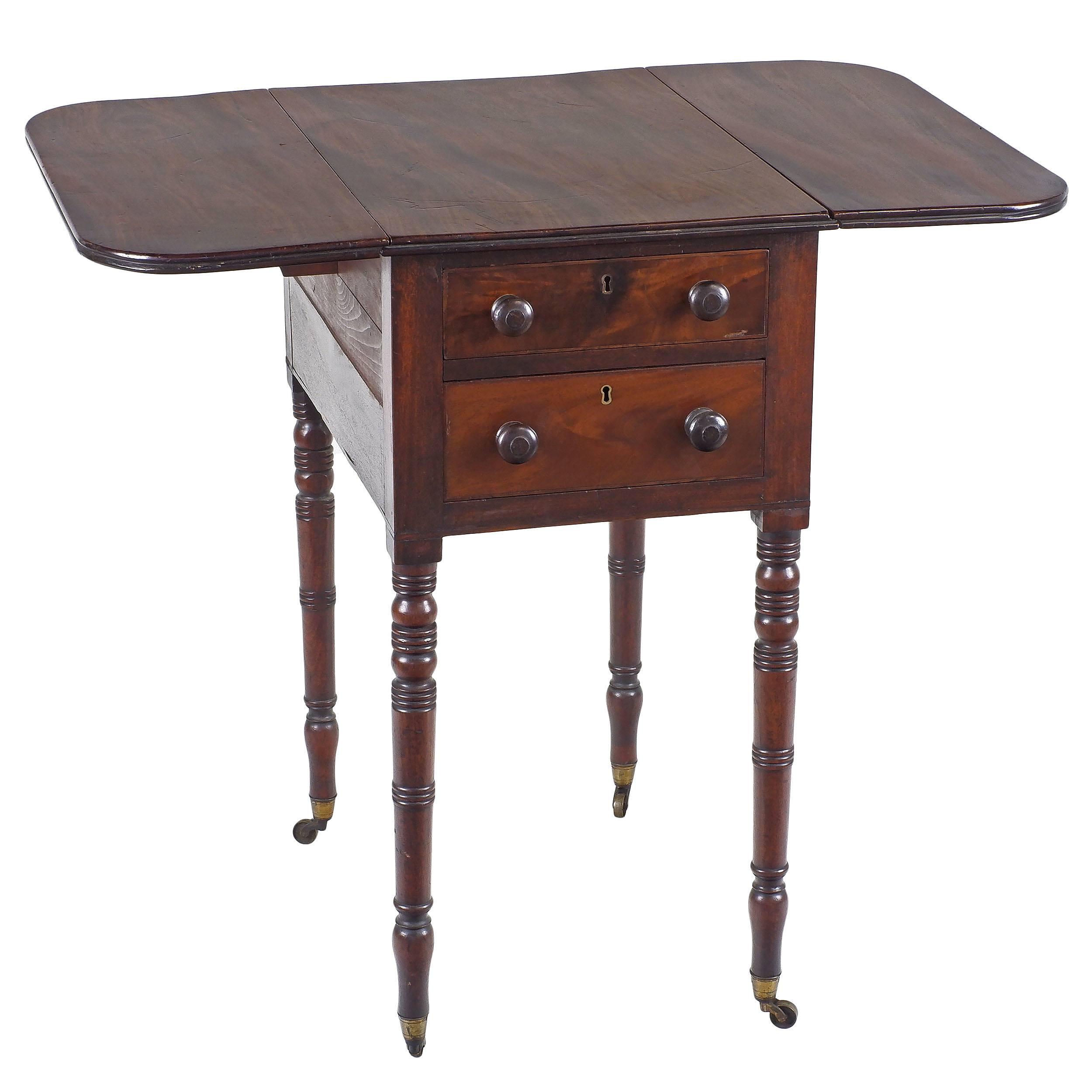 'Small Late Georgian Mahogany Pembroke Sewing Table with Fitted Drawer Circa 1825'