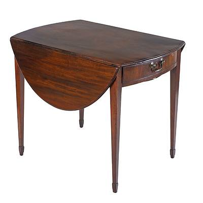George III Mahogany Pembroke Table with Spade Feet the Single Drawer Fitted for Tea Circa 1800
