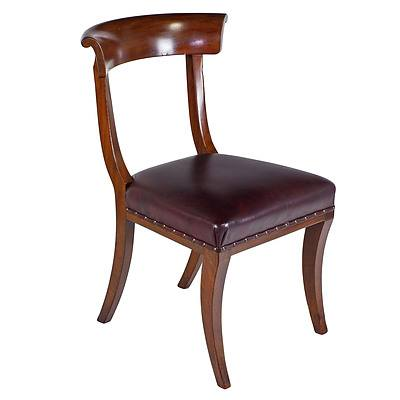 Good Set Of Seven Regency Sabre Leg Mahogany Dining Chairs in the Classical Klismos Style Circa 1820