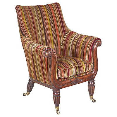 William IV Simulated Rosewood Upholstered Salon Chair with Fabulous Upholstery Circa 1835