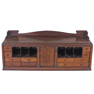 George II Secretaire Internal Compartment with Ebony and Boxwood Starburst and String Inlay, Later Built Into Cabinet