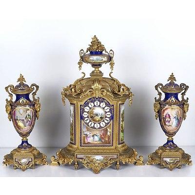 Impressive French Sevres Style Porcelain and Ormolu Clock Garniture Samuel Marti et Cie Late 19th Century