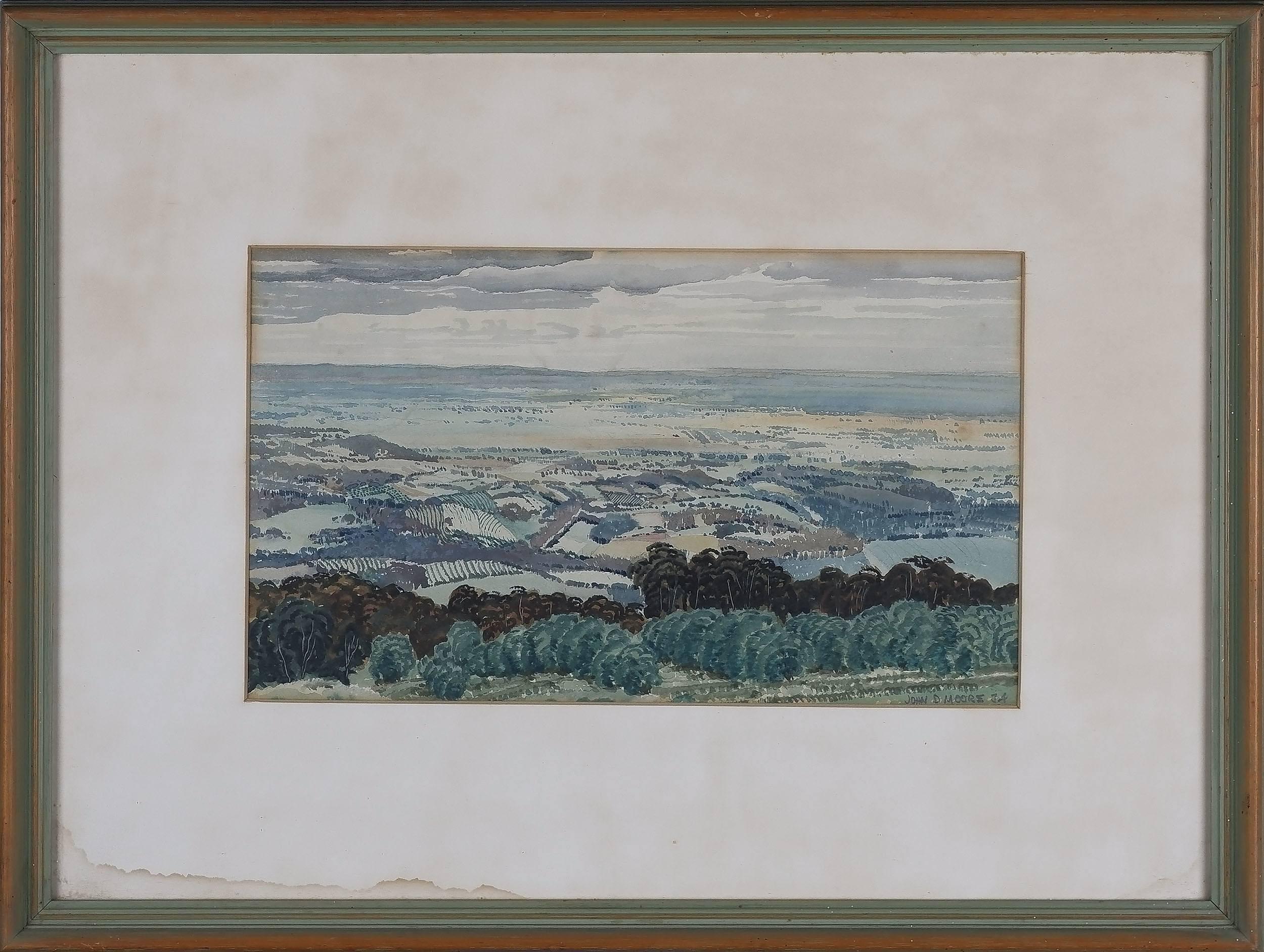 'John Drummond Macpherson Moore (1888-1958) View Of East Kurrajong 1934 Watercolour'