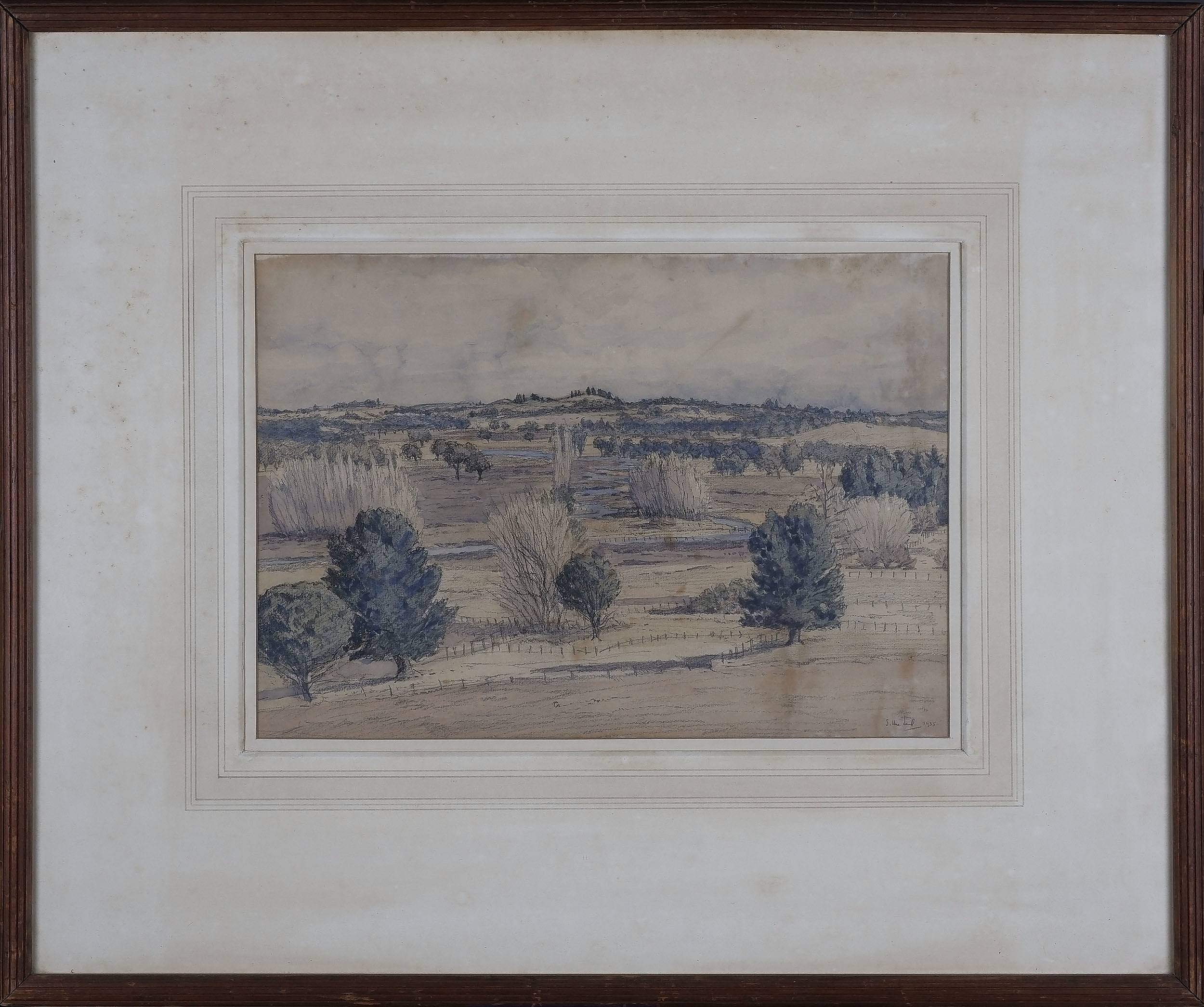 'Sydney George Ure Smith (Britain, Australia, 1887-1949) Landscape From Moidart Bowral 1935 Watercolour and Pencil'
