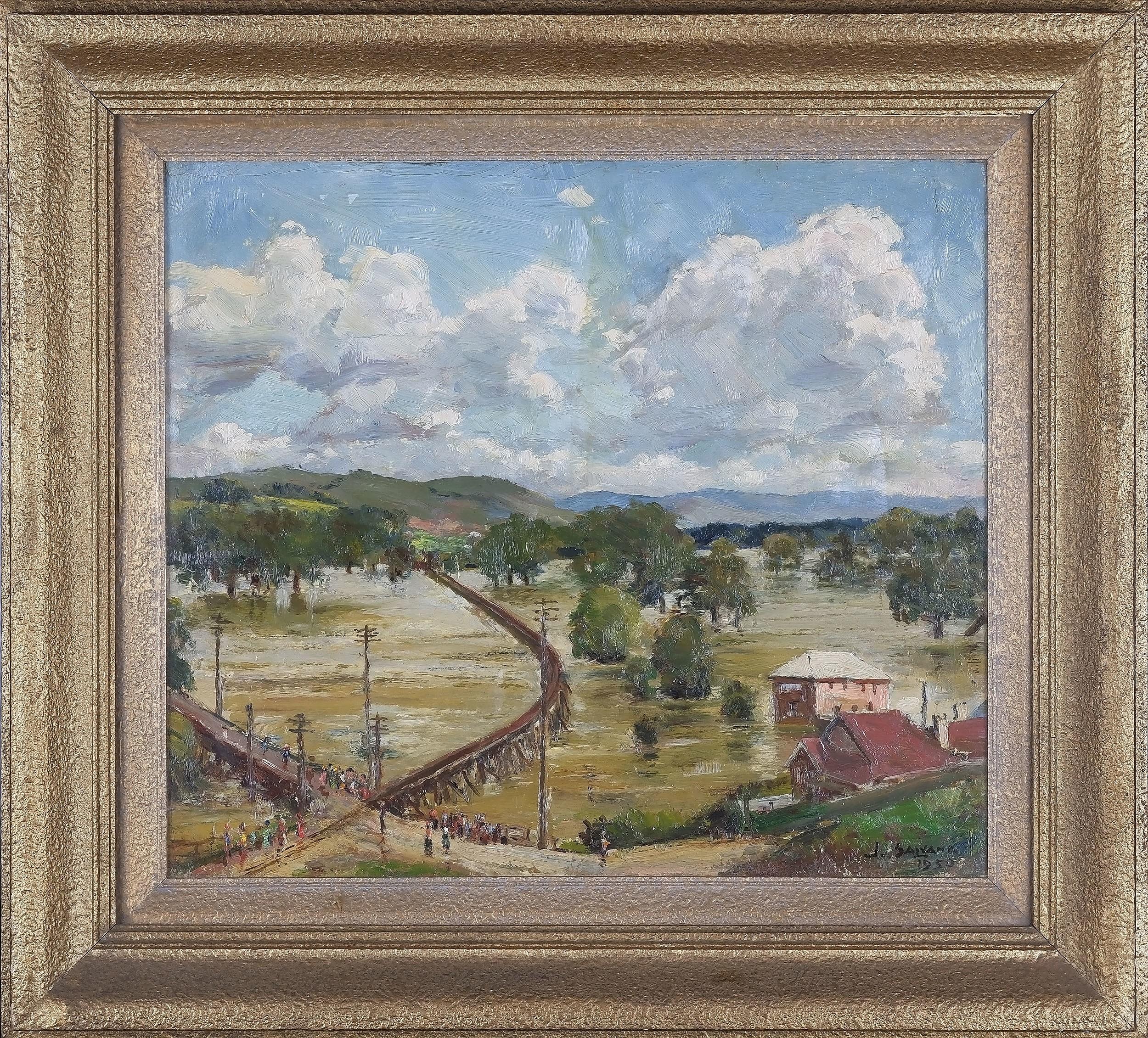 'John Salvana (1873-1956) Murrumbidgee Record Flood Gundagai Oil On Board'