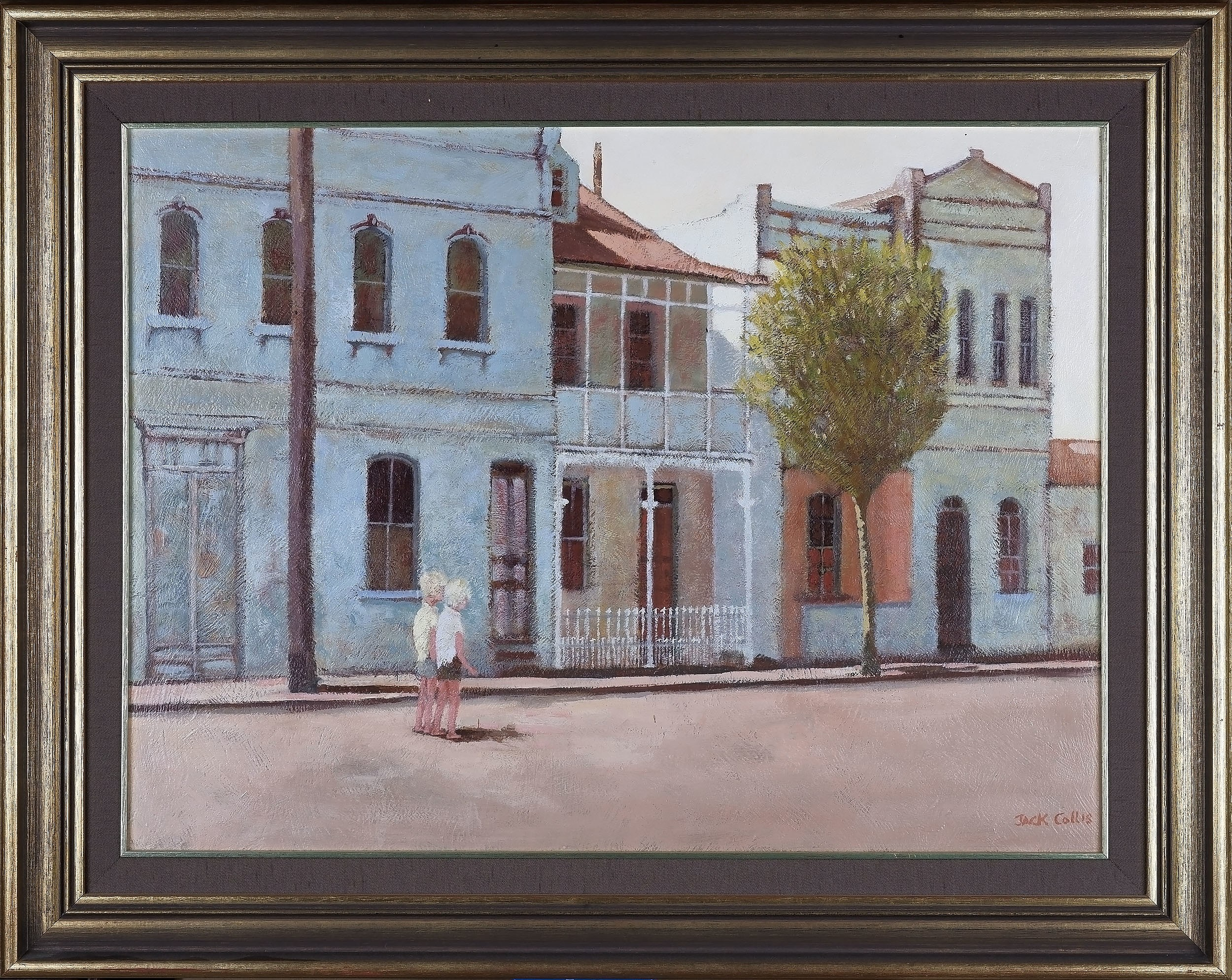 'Jack Collis (1924-) Two Boys And Terraces Sydney Oil On Board'