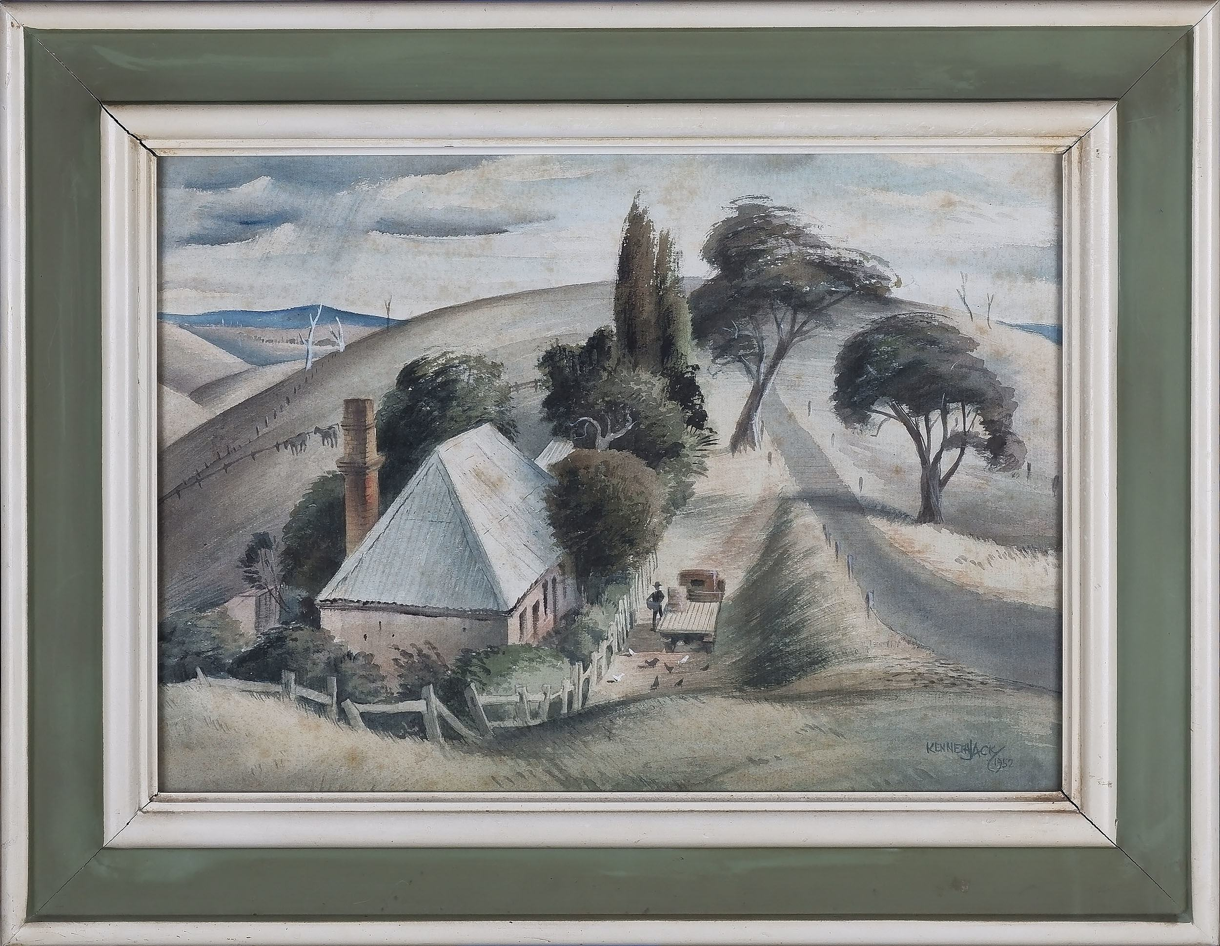 'Kenneth William David Jack (1924-2006) On The Road To Bacchus Marsh Victoria Watercolour'