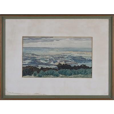 John Drummond Macpherson Moore (1888-1958) View Of East Kurrajong 1934 Watercolour
