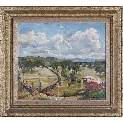 John Salvana (1873-1956) Murrumbidgee Record Flood Gundagai Oil On Board