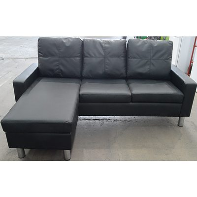 PU Leather Three Seater Chaise Lounge