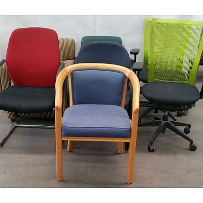 Gaslift, Visitor and Cantilever Office Chairs - Lot of Seven