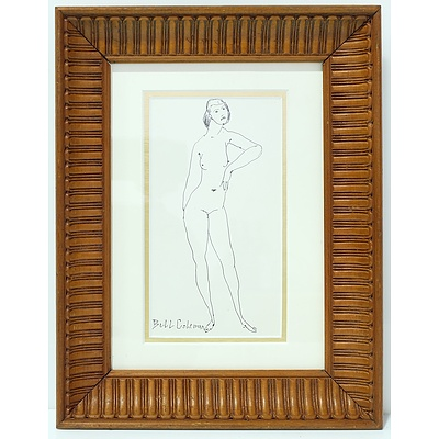 Bill Coleman (1922-1993) Nude Ink Drawing