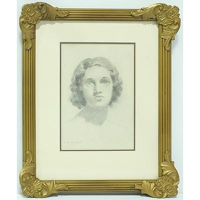 John Samuel Watkins (1866-1942) Portrait Drawing on Paper