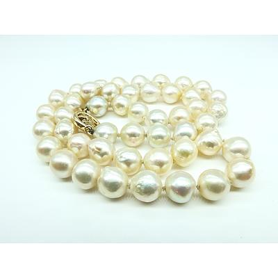 Strand of Baroque Cultured Pearls with 14ct Yellow Gold Chinese Clasp