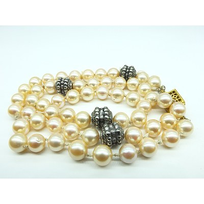 Round Cultured Pearls with Silver Spaces and Gold Plated Clasp