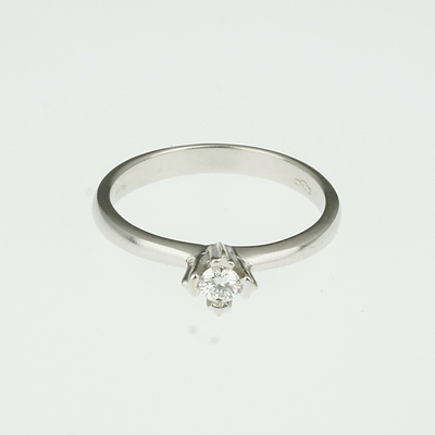18ct White Gold Ring With Round Brilliant Cut Diamond