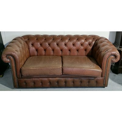 Pair of Two Seater Buttoned Leather Upholstered Chesterfields