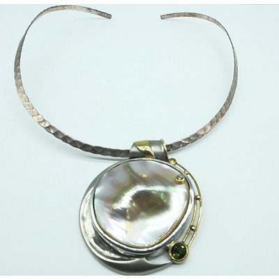 Sterling Silver and 18ct Yellow Gold With Mother of Pearl and Three Small Cognac Diamonds and Green Sapphire