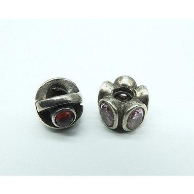 Two Pandora Beads with Semi Precious Gems