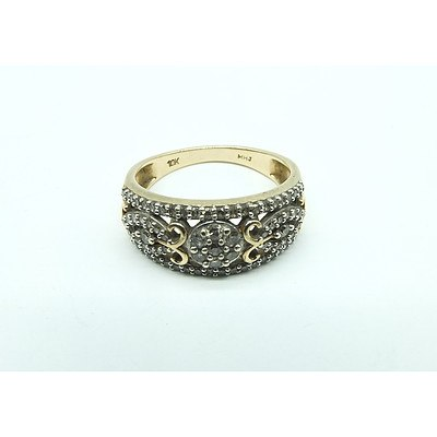 10ct Yellow Gold Ring With Half Hoop Cluster of Small Round Brilliant Cut Diamonds