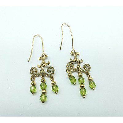 Italian 9ct Yellow Gold Earrings with Green Paste