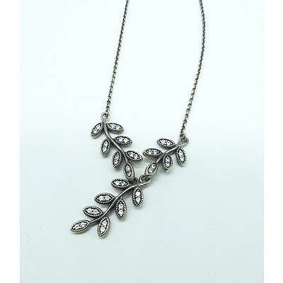 Sterling Silver Pandora Necklace Leaf Drop with Cubic Zirconia