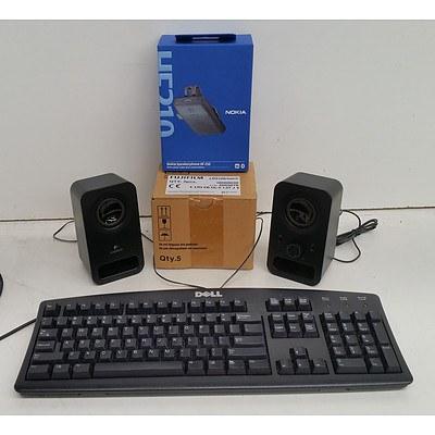 Bulk Lot of IT Equipment - Power Cables, Ethernet Cables, Data Cartridges & Office Phones