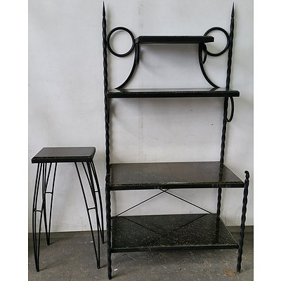 Hand Forged Steel and Italian Marble Shelving Unit and Lamp Table