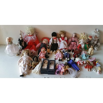 Group of Various Porcelain Dolls and Doll Accessories