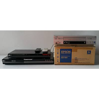 Group of Two DVD Players, VHS Player and Multimedia Projector