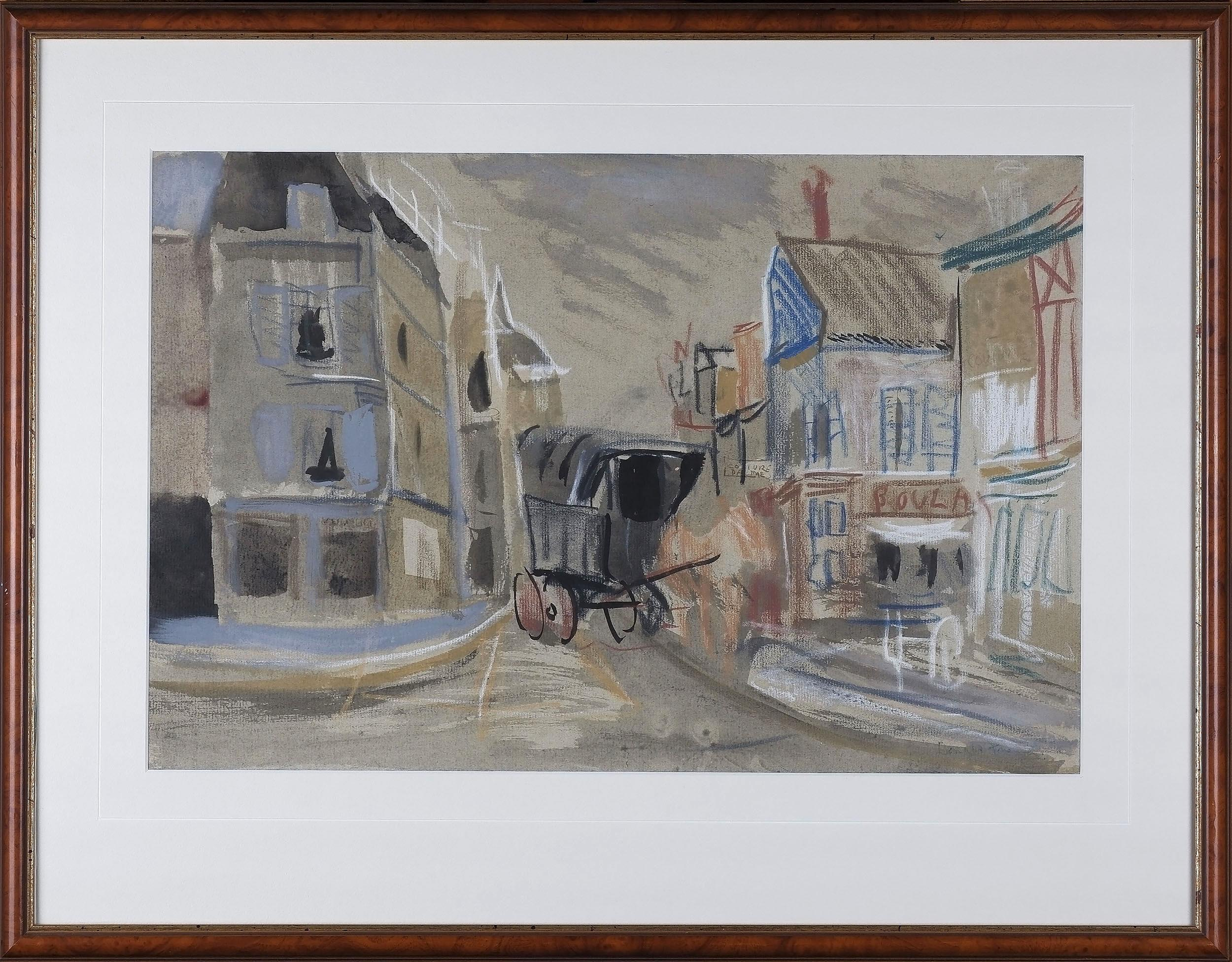 'Donald Stuart Leslie Friend (1915-89) Untitled French Scene Pastel and Ink on Paper'
