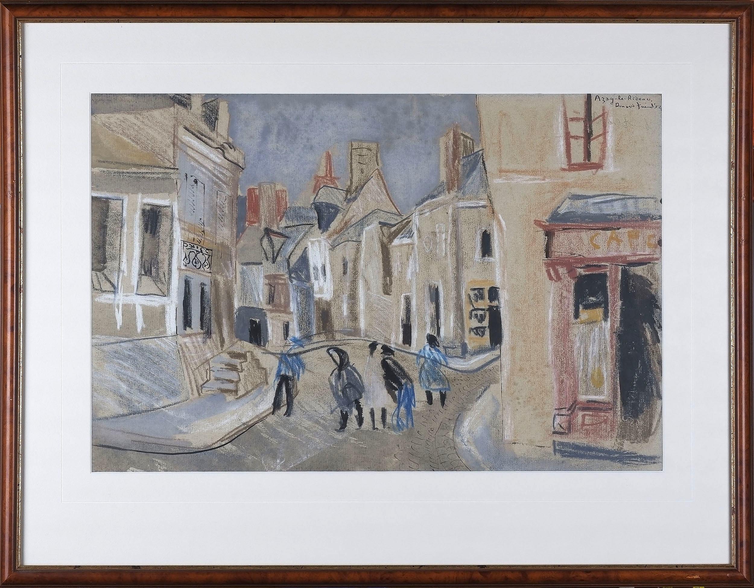 'Donald Stuart Leslie Friend (1915-89) Azay-Le-Rideau 1952 Pastel and Ink on Paper'