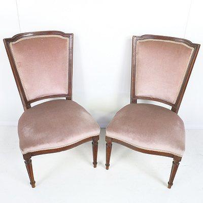 Pair of Edwardian Salmon Velvet Upholstered Chairs