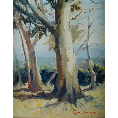 FERGUSON, Leon (b.1919): Gum Trees in a Clearing Oil on Canvas Board
