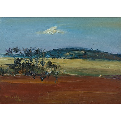 NASEBY, David (b.1937): Landscape with Red Earth, 1999. Oil on Canvas