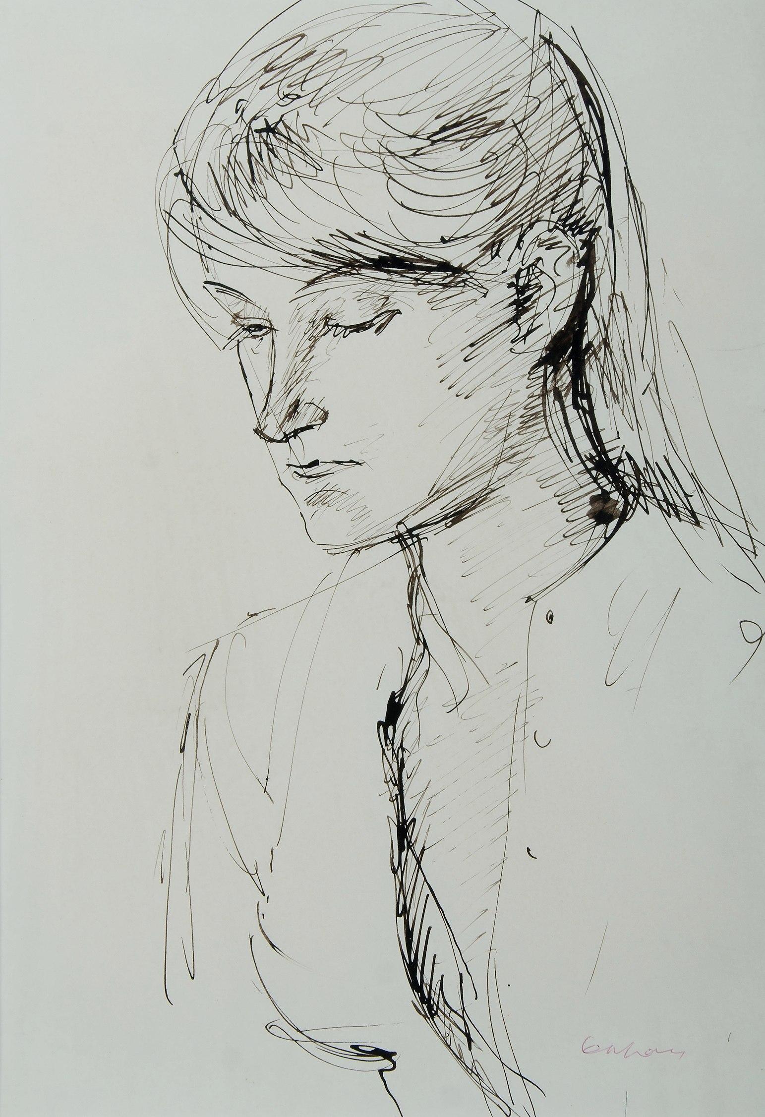 'KAHAN, Louis (1905-2002): Head of a Girl, c1958 Pen & Ink'