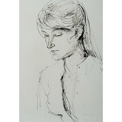 KAHAN, Louis (1905-2002): Head of a Girl, c1958 Pen & Ink