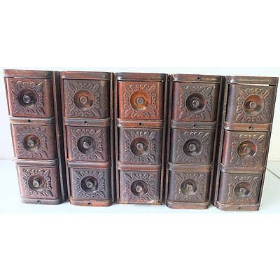 Five Vintage Sewing Machine Drawers with Decorative Engraved Fronts