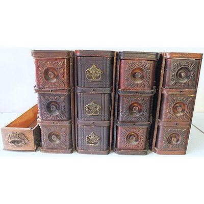 Four Vintage Sewing Machine Drawers with Decorative Engraved Fronts