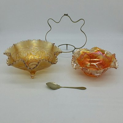 Carnival Glass Sauce Dish Set