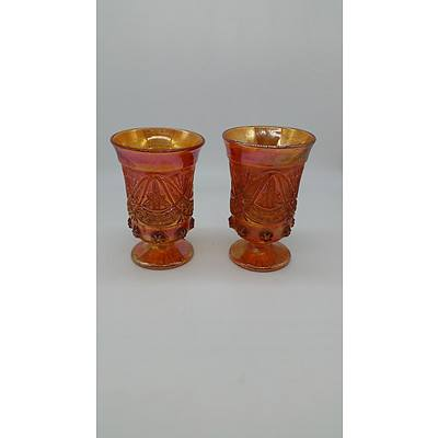 Two Carnival Glass Vases