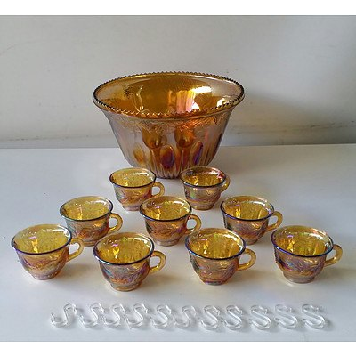 Carnival Glass Punch Bowl and Nine Cups
