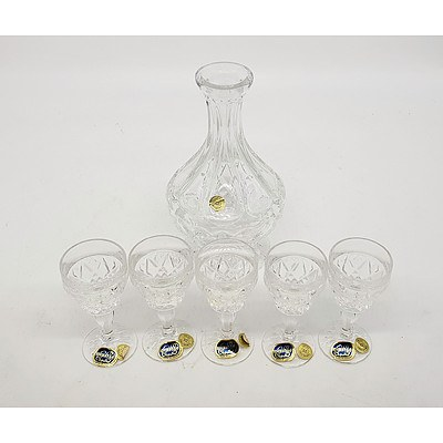 Bohemia Crystal Decanter with 5 Glasses