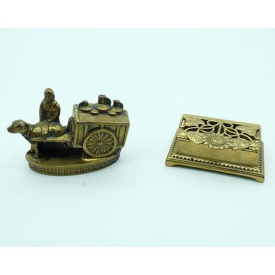 Brass Stamp Holder and Brass Milk Maid Figurine
