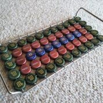 Handmade African-style bottle top tray