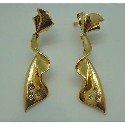 18ct Yellow Gold Fan Earrings