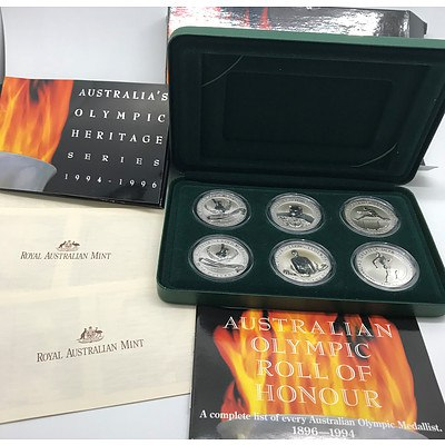 1996 Australia's Olympic Heritage Series Six Coin Commemorative Coin Set in Sterling Silver