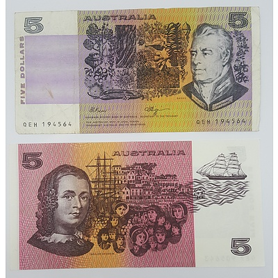 Error Note and Normal Australian Five Dollar Note