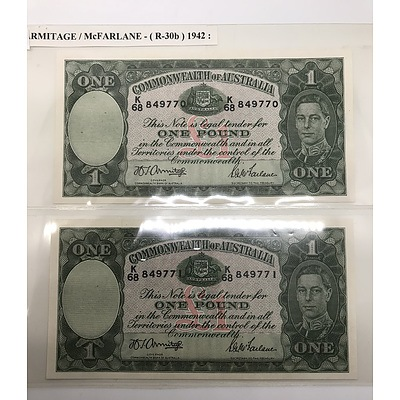 1942 Pair of Uncirculated Consecutive Serial Numbered Commonwealth of Australia One Pound Notes